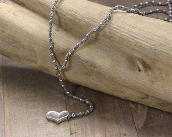 Heart Handmade Beaded Necklace Grey