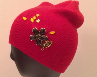 Red slouch beanie bedazzled/decorated/embellished