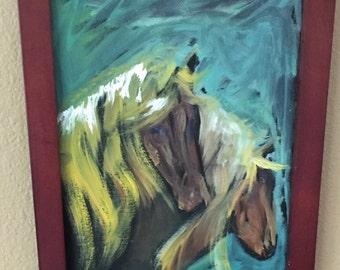 Oil Painting Horses in oil