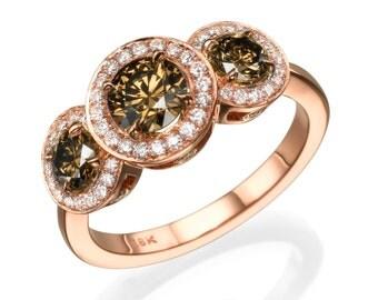 Three stone brown diamond ring