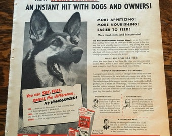 German Shepherd Dog Food Ad from 1952 Better Homes & Gardens magazine