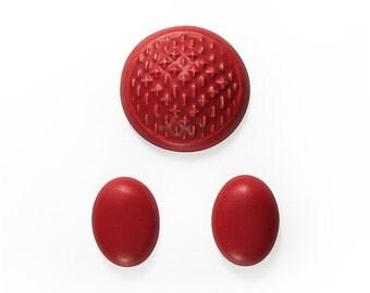 Ceramic Cabochons Set Red Velvet 3 pieces