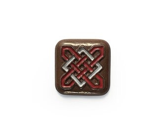Ceramic Celtic Square Red and White Cabochon 1 piece