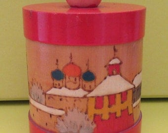 Retro Gift. USSR Storage Pot. 1950 Soviet Decorative Wooden Pot . Soviet Era. Colourful Mid Century USSR.  Soviet 1950 Pot.