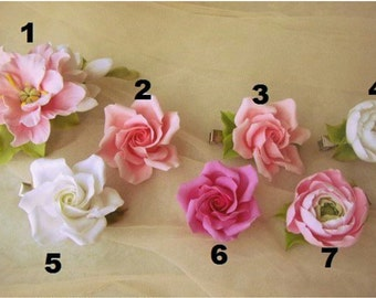 peony hairclip, rose hair, gift for her, peny hearband, bride peony, bridesmaids gift, bride accessories, small hair, ranunculus hair