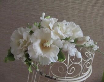 gladiolus headband, gladiolus wreath, wedding stuff, bride tiara, bridesmaids gladiolus, flower headband, white gladiolus, white tiara