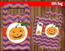 Pumpkin Halloween Gift bags, Printable Halloween bags, Halloween party bags instant download