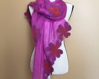100% natural Felted Silk Scarf / Floral scarf / Shipping from NEW YORK / Perfect gift / Unique / Soft / Handmade / Silk & Felt