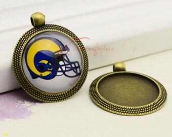 5pcs--Handmade Setting Base, Antique bronze Round Cameo Setting Charm Pendants, inner 25mm LCM0430-25