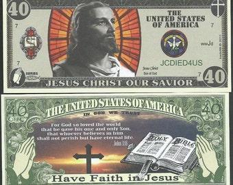 Christian / Jesus Novelty 40 Dollar Bills Bible John 3:16