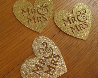 "2"" Mr & Mrs Heart Confetti - Gold Glitter (30 pieces) Die Cut - Country Wedding, Personal Touch, Wedding Reception, Engagement Party"