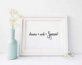 Dreams work success wall print, inspirational wall art, motivational wall decor, dorm decor, art print, office decor, inspirational quote