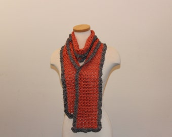 Crochet Orange Scarf, Long Orange Scarf, Orange and Grey Scarf, Orange Sunshine Scarf