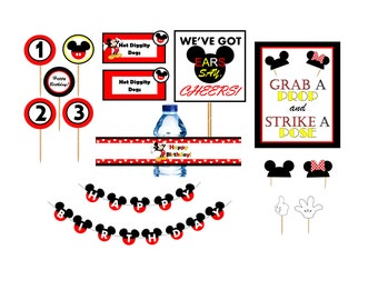 Mickey Mouse Birthday Party Set, Mickey Mouse Party Food Labels, Cupcake Toppers, Birthday Banner, and MORE! - Instant Download!