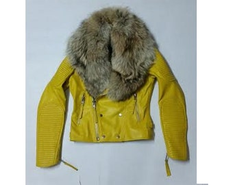 Malibu Soft Lamb Leather Biker Jacket with Removable Raccoon Fur Collar