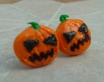 Halloween Pumpkin Clay Earrings