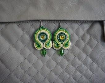Handmadse Soutache earrings with Swarovski rhinestones