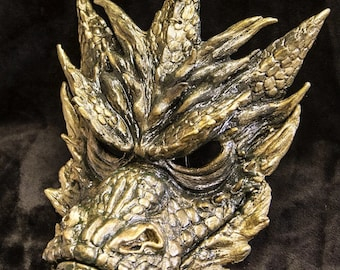 Dragon mask, masquerade mask, costume mask, fantasy, forest creature, custom made,