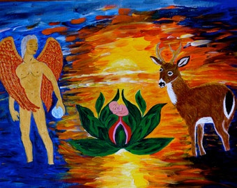Christmas scene with Lotus baby