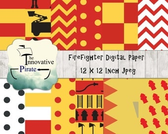 Firefighter Digital Paper Pack - Firefighter Backgrounds - Emergency Services Digital Paper - Red and Yellow Digital Paper - Fire truck -