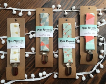 Pacifier Clip, Paci clip, binky clip - lots of designs to choose from. Packaged and ready the gift!