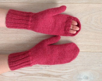 Hand-knitted mittens / Warm winter mittens / Arm warmers / Warm mittens / 100% pure virgin wool