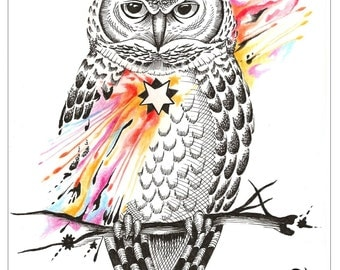 Tripping Owl customTatto Design