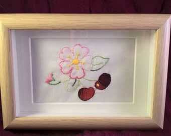 Cherry blossom / cherries/ flowers / vintage hand embroidered framed picture