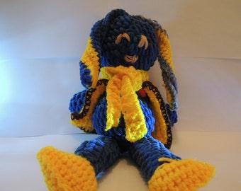 Big Blue bunny - handcrafted - crochet bunny - SUPER SOFT