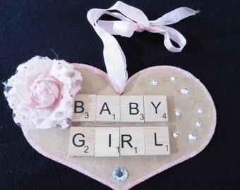 Baby Girl Handmade Scrabble Heart