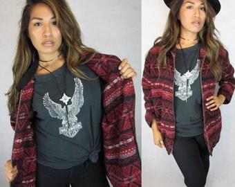 Vintage 90s Tribal, Aztec Southwestern Print, Oversized, Slouchy, Comfy Cozy Zip up Jacket, jumper    N1