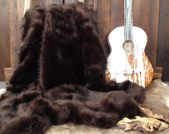 Luxurious Brown Bear Faux Fur bed or Sofa Throw with brown faux-suede lining in a range of sizes