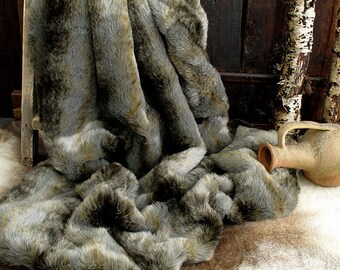 Grey Wolf Faux Fur Throw for Bed or Sofa with grey faux-suede lining in a range of sizes