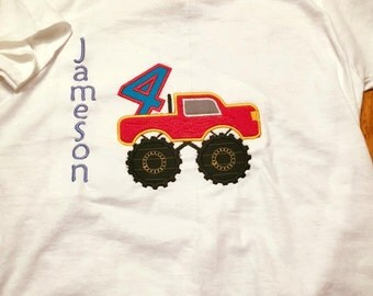 Monster Truck Birthday number applique Shirt