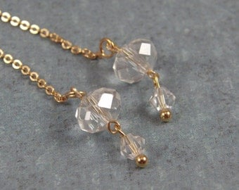Gold and Swarovski Crystal Thread Earrings