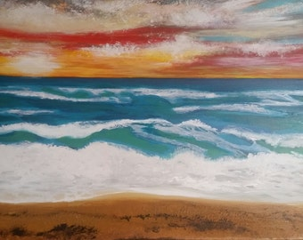 Original Contemporary Beach Seascape Painting-Canvas Wall Art-Acrylic on Canvas Ready to Hang