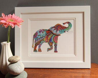 Tangled Elephant, zentangle, India, colorful, Janine Cawthorne, watercolor, home decor, giclee print, elephant,