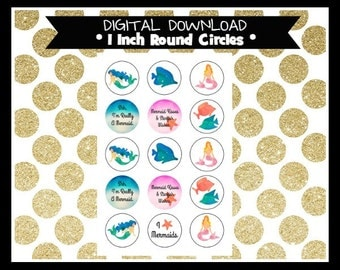 Mermaid Watercolor 1 Inch Circles Digital Bottle Cap, pendants, magnets, planner sticker, bows