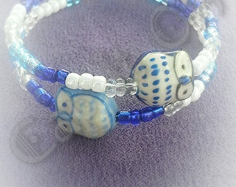 Owl bracelet - gifts - gifts for her - accessories - owl - bracelet - beaded bracelet - blue - jewelry