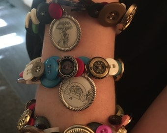 Everything but the Kitchen Sink Button Braclet. Set of 3. A1
