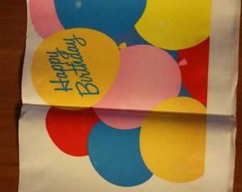"Happy Birthday Tablecloth Balloons  paper decoration 4 4""w x 7 7""long cut to smaller length if needed rectangular"