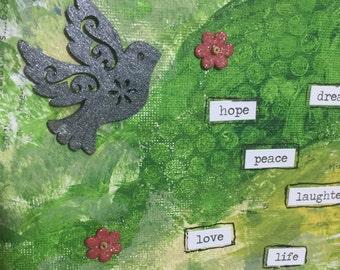 Mix media small canvas handmade   bird spreading peace love message