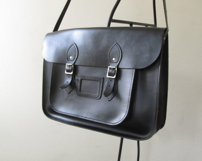 Black leather schoolbag, handmade messenger, simple work satchel, leather laptop bag, briefcase, work bag attache