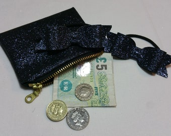 Coin purse and bow set - midnight blue sparkles
