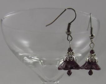 Purple Czech Glass Blown Flower Earrings