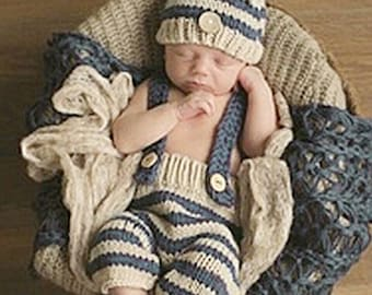 Newborn baby boy photo prop. Set. Pants. Suspenders. Hat. Crocheted