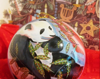 Glass Christmas Ornament, Panda Bears, 3 inch round
