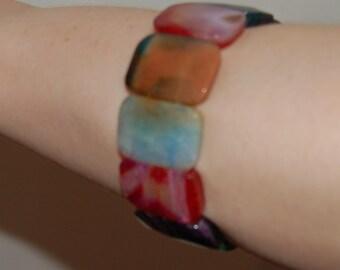 Art Deco Dyed Agate Bracelet