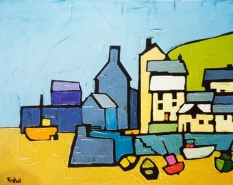 CORNISH HARBOUR by Colin Ruffell. Signed and numbered fine-art print.