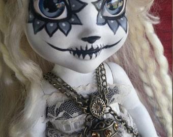 "Custom Elsa Frozen Doll ""Sugar Marie"" Antoinette, Victorian Goth Steampunk Sugar Skull Doll with Custom Outfit, Hair & Jewelry"